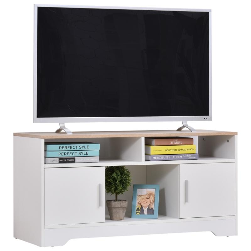 HOMCOM Armario para Televisor Mueble Auxiliar para TV con Gran Espacio de Almacenaje Estantes Abiertos 105x40x52cm Blanco