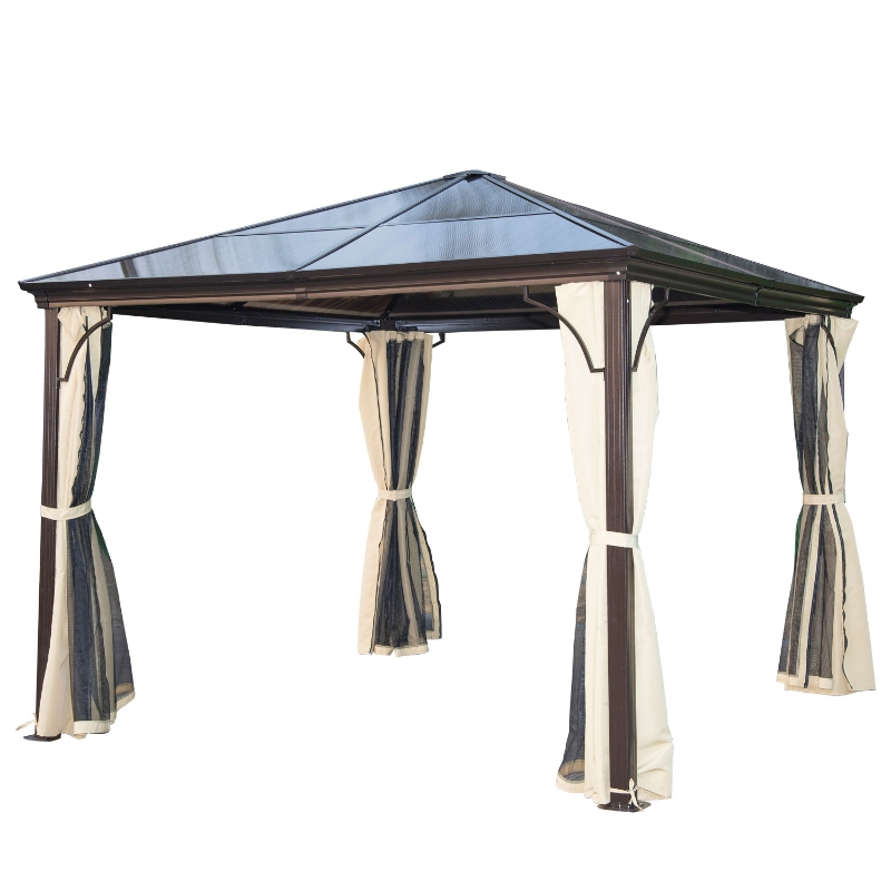 Outsunny Carpa Cenador para Jardín 300x300x260cm Gazebo Exterior para Evento Estable Anti-UV Techo Policarbonato 4 Paravientos Mosquitera Integrada Color Café