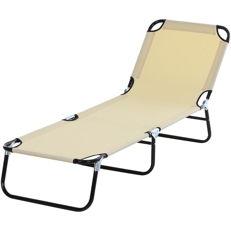 Outsunny Tumbona Plegable Reclinable con Ángulo Ajustable de 3 posiciones para Jardín Exterior Piscina Terraza Camping Carga 120 kg 190x56x28 cm Beige