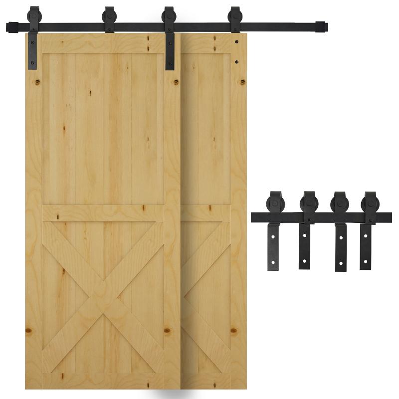 HOMCOM Herrajes Puerta Corredera 200cm Kit de Acero al Carbono Accesorios para 2 Puertas Deslizantes de Madera de 100cm de Ancho Baño Domitorio Cocina