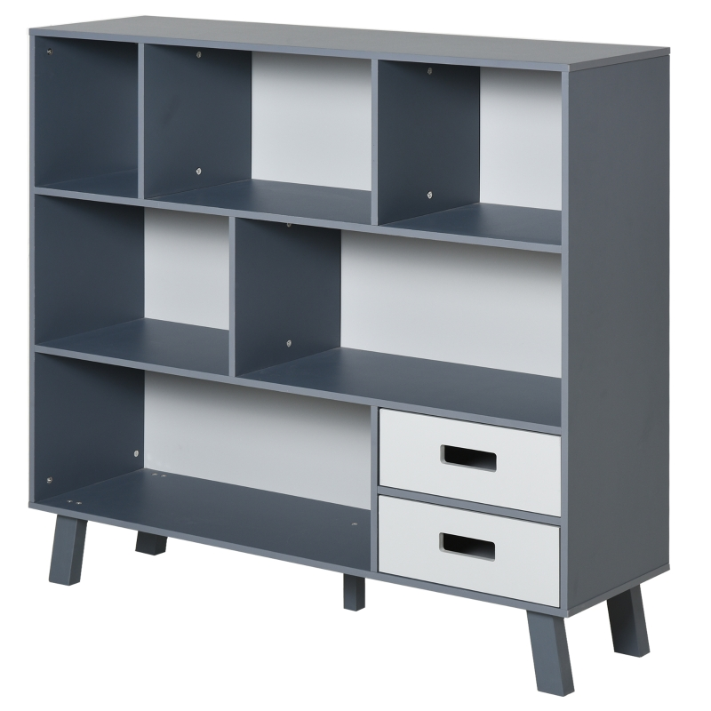 HOMCOM Estantería Librería con 6 Compartimentos y 2 Cajones Mueble Auxiliar con Patas para Libros Decoraciones Fotos 105x30x96 cm Azul y Gris