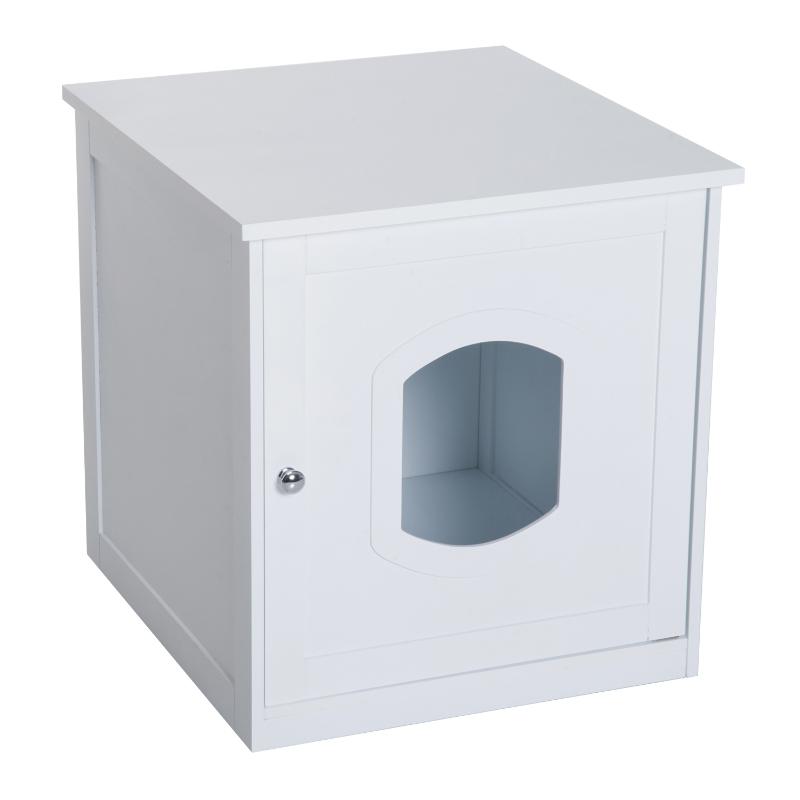Pawhut Casa para Gatos Mascotas Diseño 2 en 1 Sirve como Casita o Arenero de Alta Comodidad Ligera Extraíble y Lavable con Mecanismo Magnético en La Puerta 51x48x51 cm Blanco