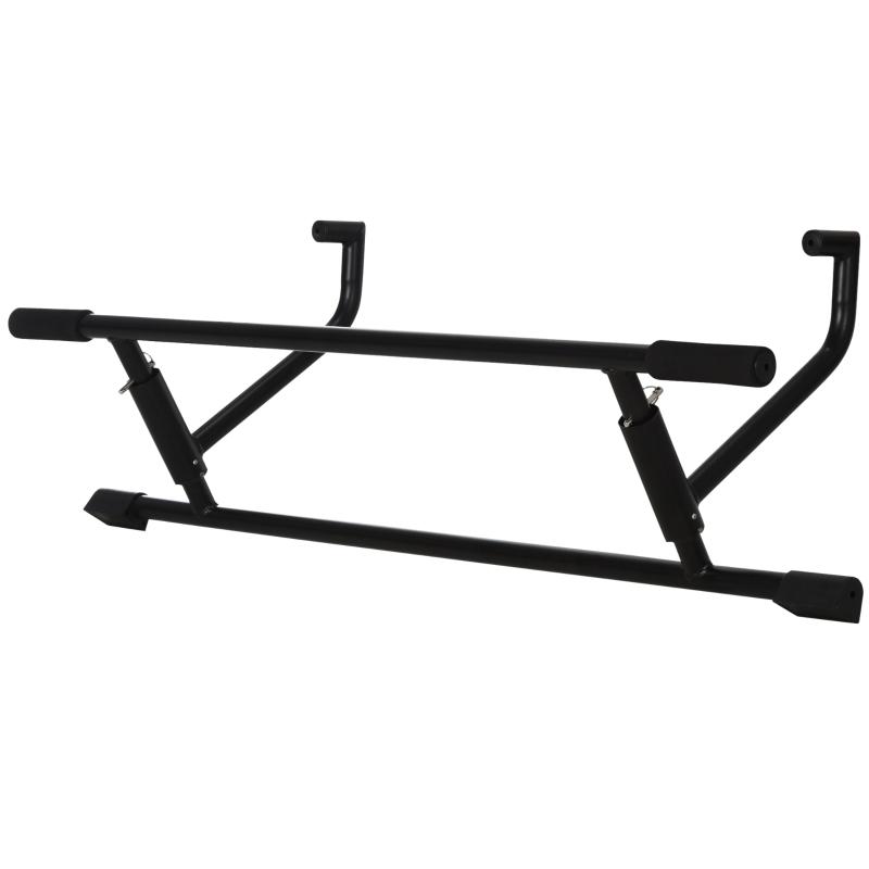 HOMCOM Barra de Pullup Plegable Barra de Dominadas Ajustable para Puerta Múltiple Uso para Ejercicios de Acero 102x35x25 cm Carga 110 kg Negro