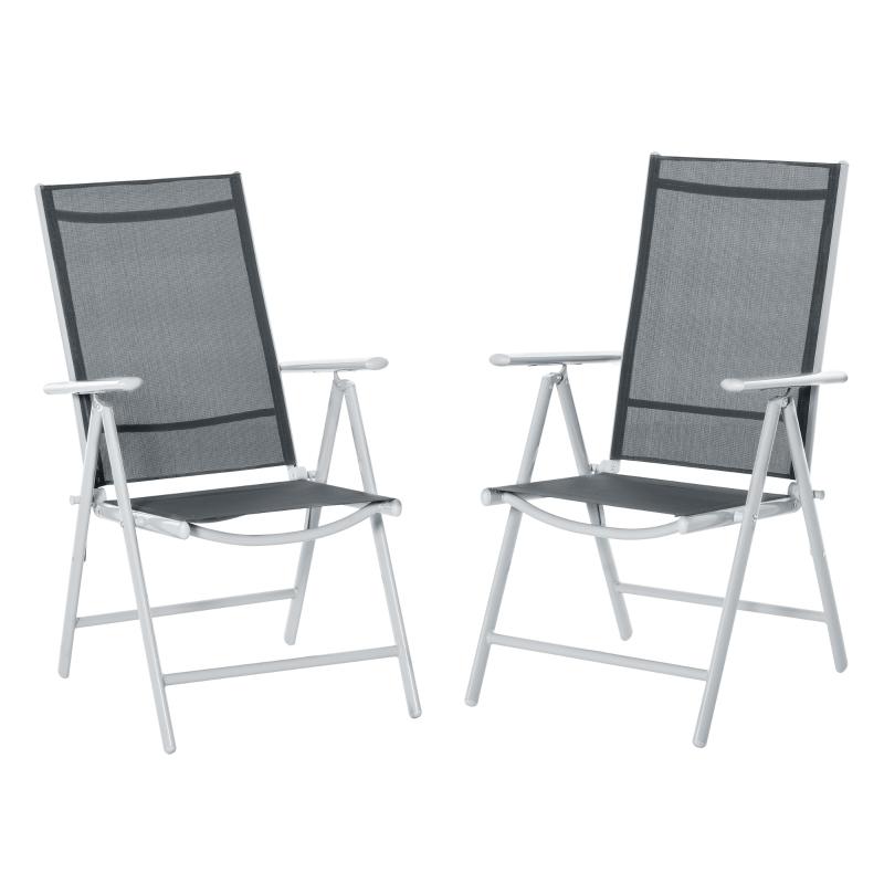 Outsunny Set de 2 Sillas de Comedor de Jardín Plegables de Aluminio con Respaldo Alto Ajustable de 8 Niveles y Reposabrazos Transpirable 65x55x107 cm Gris