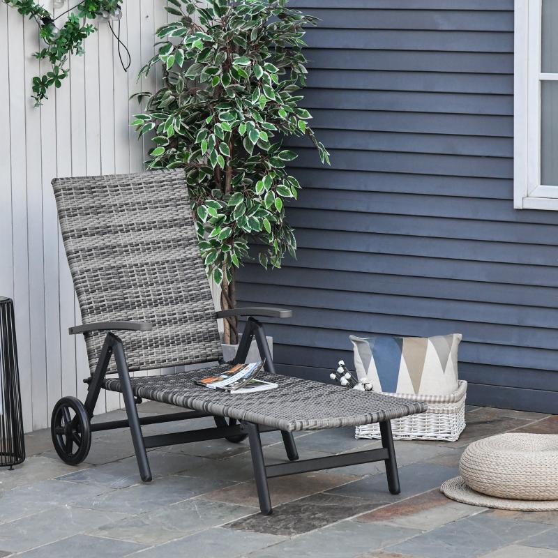 Outsunny Tumbona de Jardín de Ratán 192x74x55 cm con Respaldo Reclinable en 7 Posiciones Reposabrazos y Ruedas Marco de Aluminio para Patio Terraza Balcón COLOR