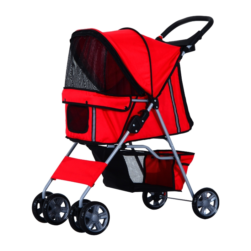 Pawhut 1571260031 - cochecito paseo mascotas rojo plegable 75x45x97cm