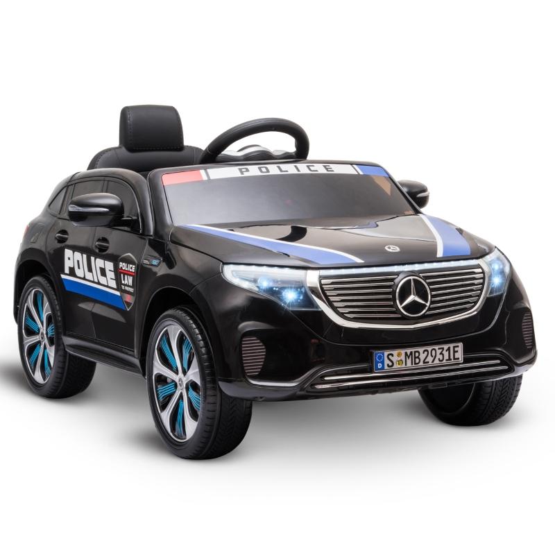 HOMCOM Coche Eléctrico de Policía para Niños Mercedes EQC Batería 12V +3 Años con Mando a Distancia Música Bocina y Faros Doble Apertura 106x68x53 cm Negro