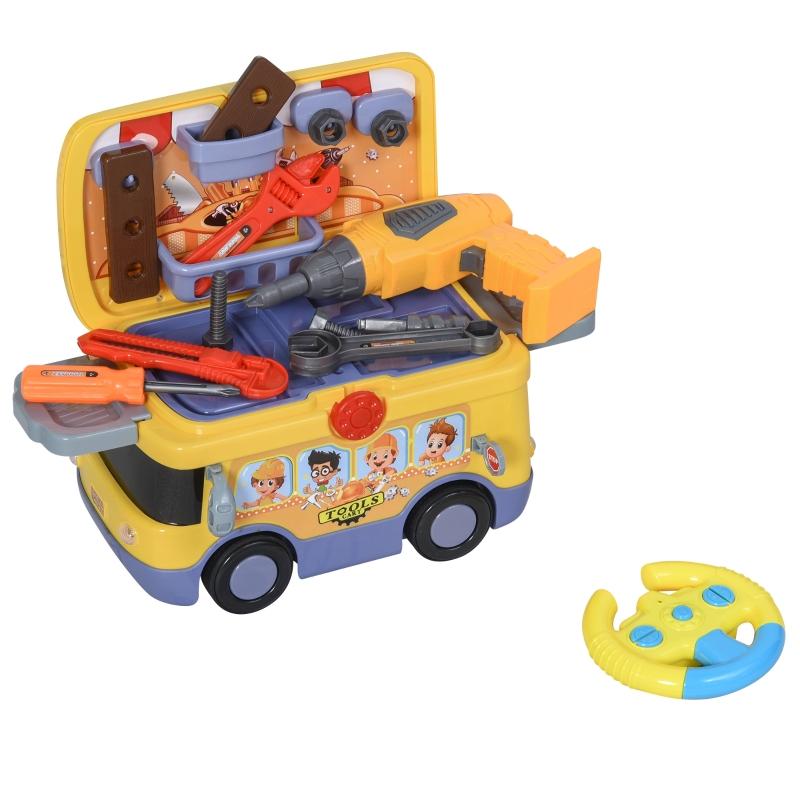 HOMCOM Maletín de Herramientas de Autobús para Niños de +3 Años Juego de Trabajo Diseño 3 en 1 con Control Remoto Efectos de Luz 40,2x22,8x28,8 cm