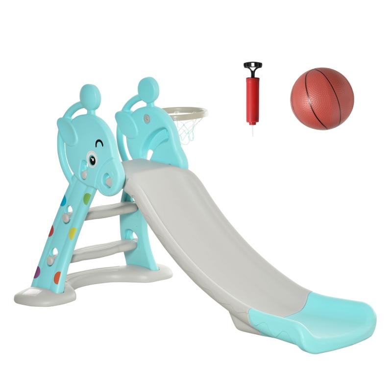 HOMCOM Tobogán Infantil Plegable con Canasta de Baloncesto para Niños +18 Meses Modelo Jirafa para Interiores y Exteriores 140x87x75 cm Azul y Gris