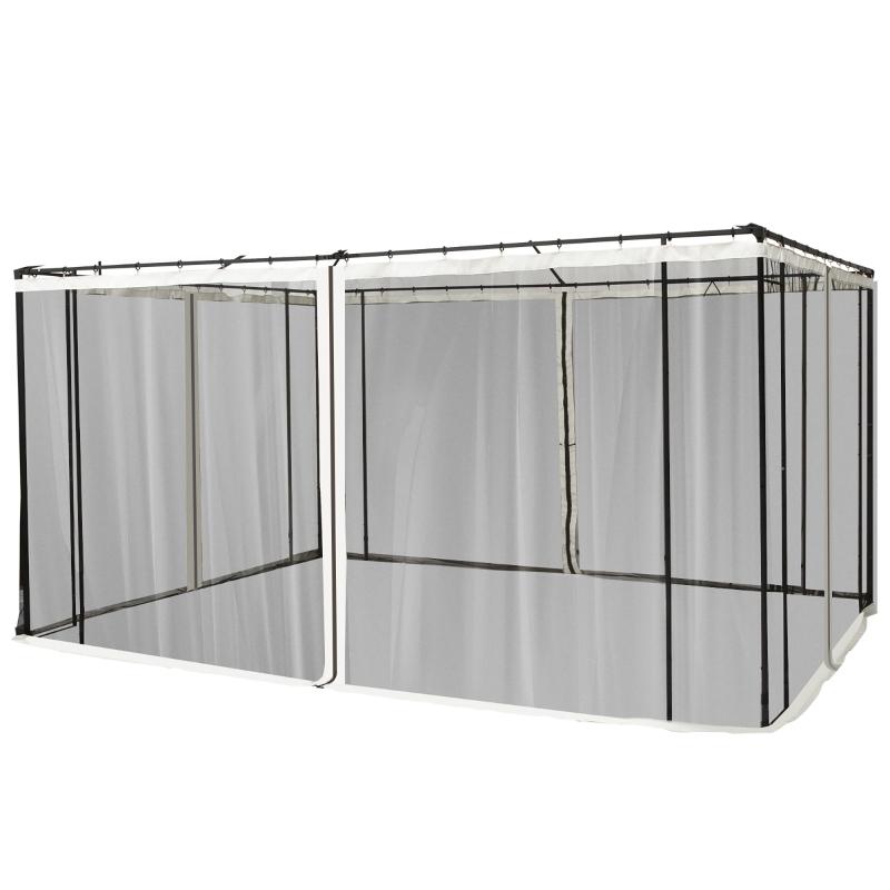Outsunny 4 Paneles Laterales 335x207 cm para Carpa de Jardín Tela Mosquitera para Cenador Gazebo con Cremalleras y Anillas Negro