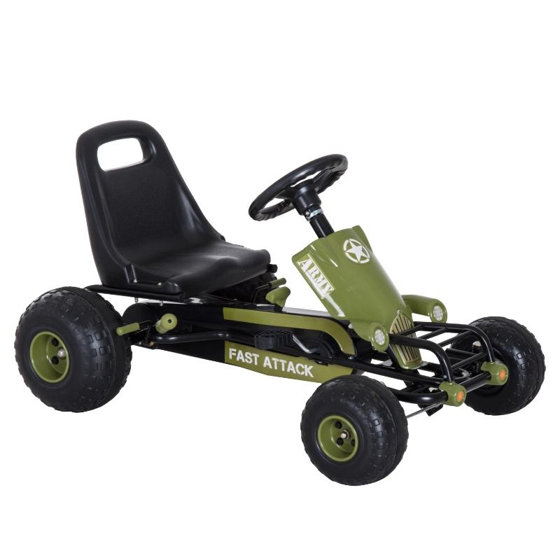 HomCom Go Kart Coche de Pedales Racing Deportivo con Asiento Ajustable Embrague y Freno 99x65x56cm Marco Acero Negro y verde