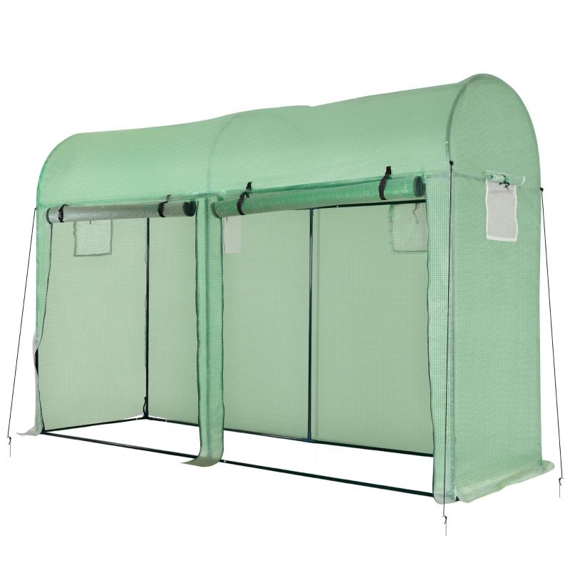 Outsunny Invernadero Caseta de Jardín Tipo Túnel Invernadero con 4 Ventanas y 2 Puertas para Cultivos Plantas Flores de PE y Acero 300x100x200 cm Verde