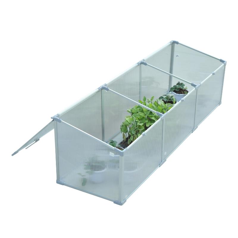 Outsunny Invernadero de Jardín Aluminio Policarbonato 180x51x51cm Transparente Vivero Casero para Plantas Cultivos Protección UV y Resistente