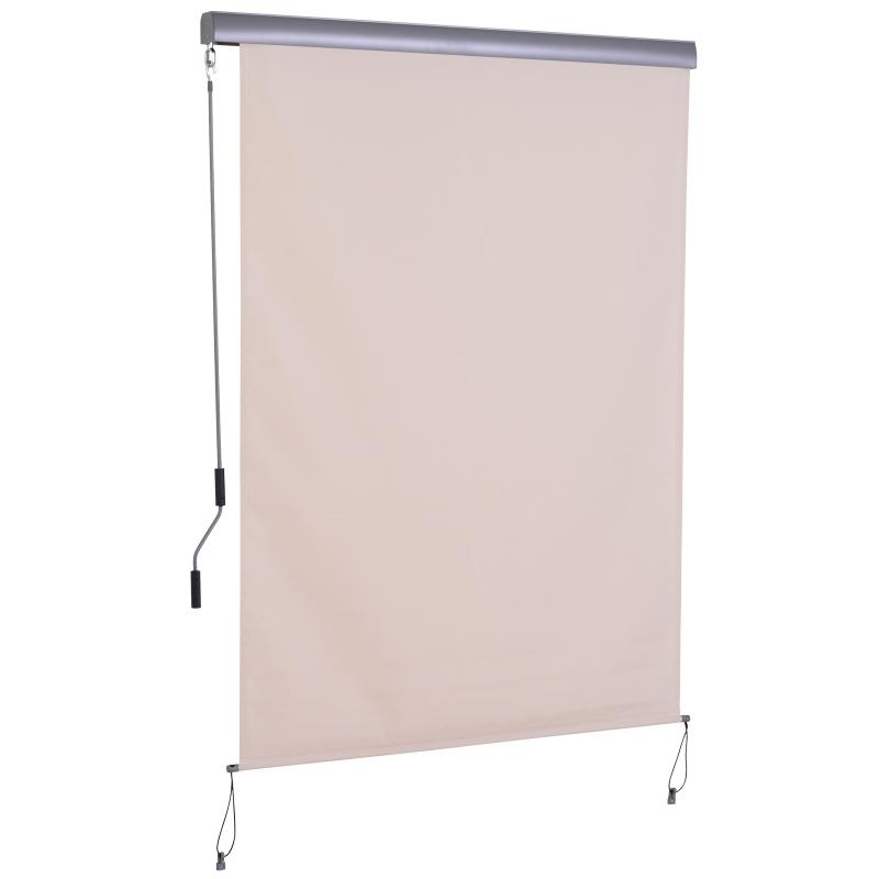 Outsunny Toldo Vertical Enrollable con Manivela 140x250 cm Protección UV para Interior y Exterior Balcón Porche Terraza Color Crema