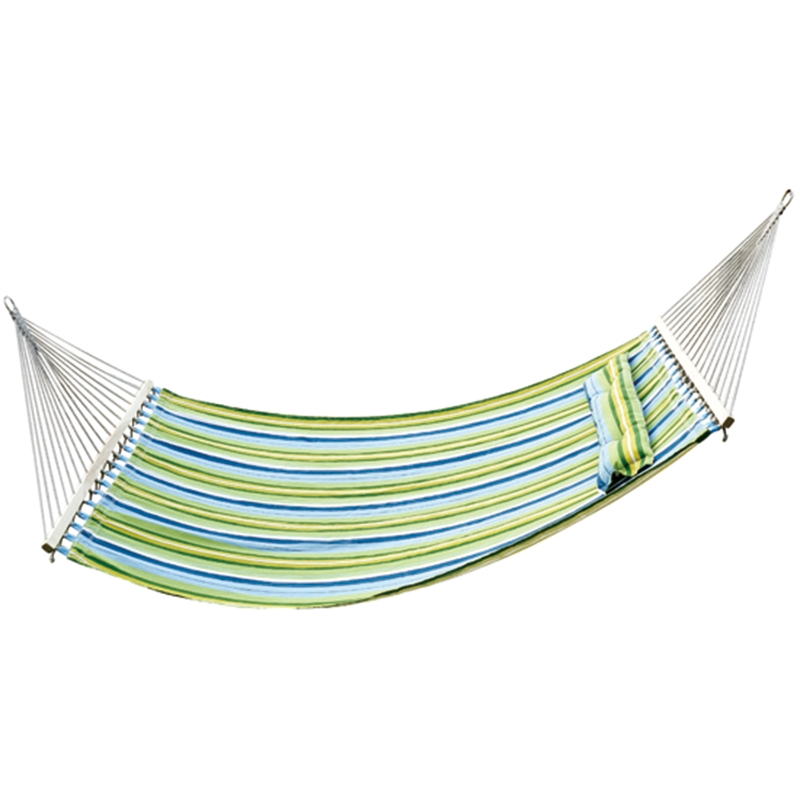 Outsunny® Hamaca Colgante de Jardín para 2 Personas Hamaca Ecológico para Camping con Almohada - Carga de 210kg Rayas Azules y Verdes 2.1x1.4m