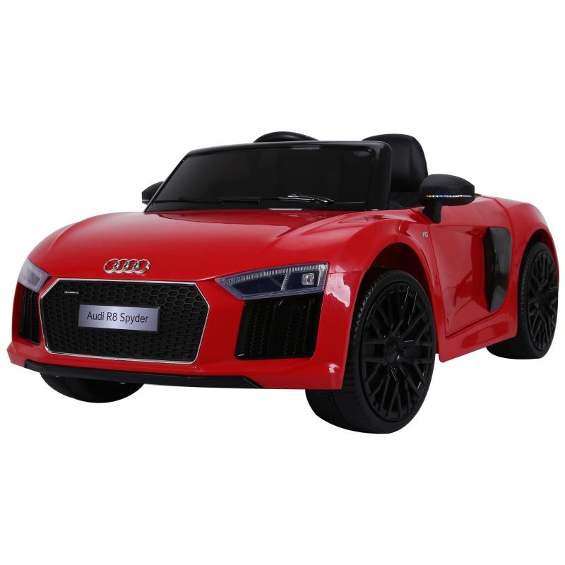 HOMCOM Coche Eléctrico para Niño 3+ Años Audi R8 con Mando a Distancia MP3 USB Luces y Sonidos Apertura de Puerta 123x71x49cm Carga 30kg Color Rojo