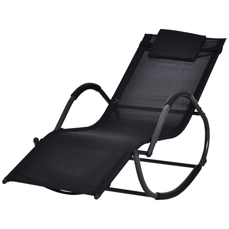 Outsunny Mecedora para Exterior Tumbona con Reposabrazos y Función Balancín para Terraza 160x61x79 cm Negro