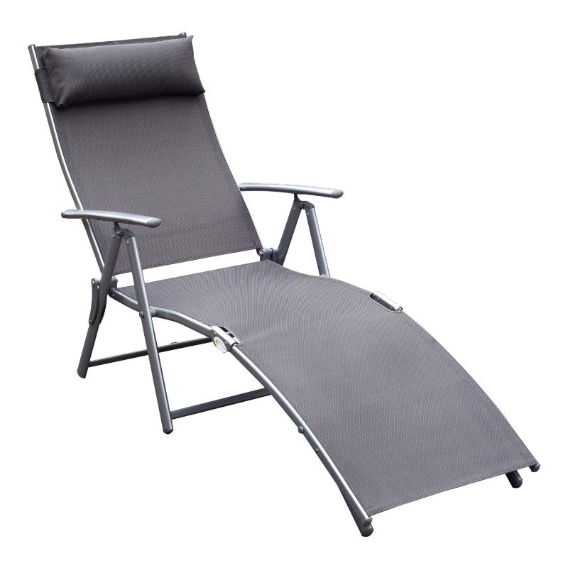 Outsunny Tumbona Plegable de Jardín con Respaldo Ajustable a 7 Niveles Acero y Textliene con Almohada Relax en Exterior Piscina Terraza Camping - Gris - 137x63.5x100.5cm