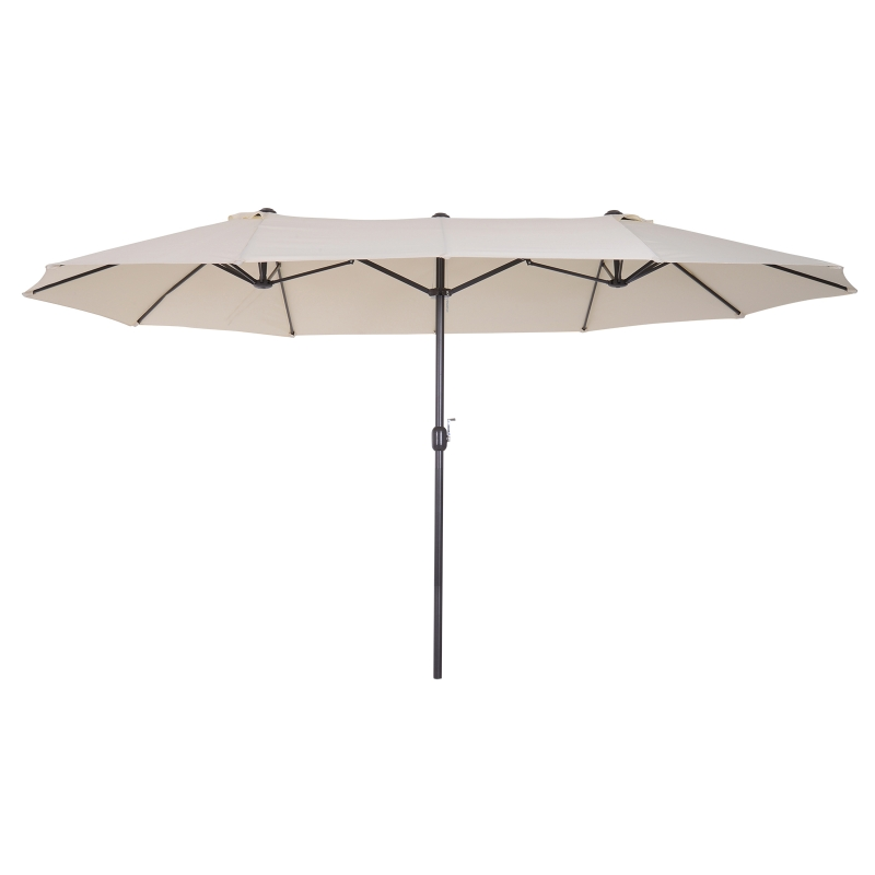 Outsunny Sombrilla Parasol Doble para Jardín 4,6x2,7x2,4 m Sombrilla Gigante Anti UV con Manivela para Exterior Patio Terraza Piscina Color Beige