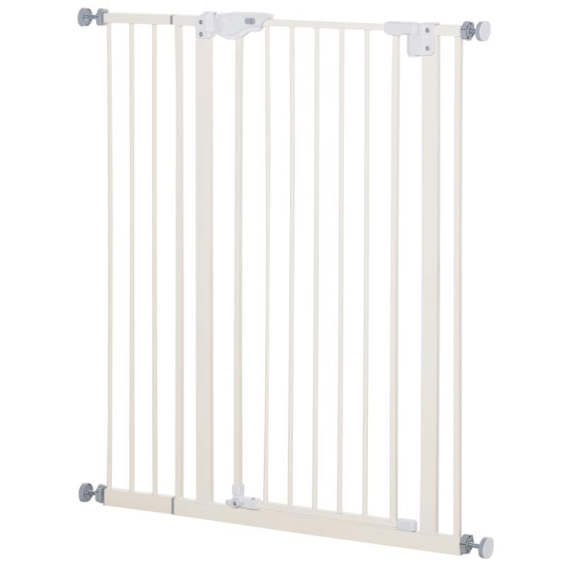 PawHut Barrera de Seguridad para Puertas y Escaleras Barrera para Perros Mascotas con Cierre Automático Extensión 17,5 cm Montaje sin Agujeros Metal 92-102x104,1 cm Blanco