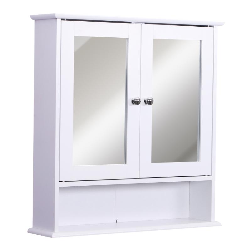 kleankin Armario de Baño con Espejo de Pared con 2 Puertas Armario de 3 Niveles para Almacenamiento Blanco 56x13x58cm