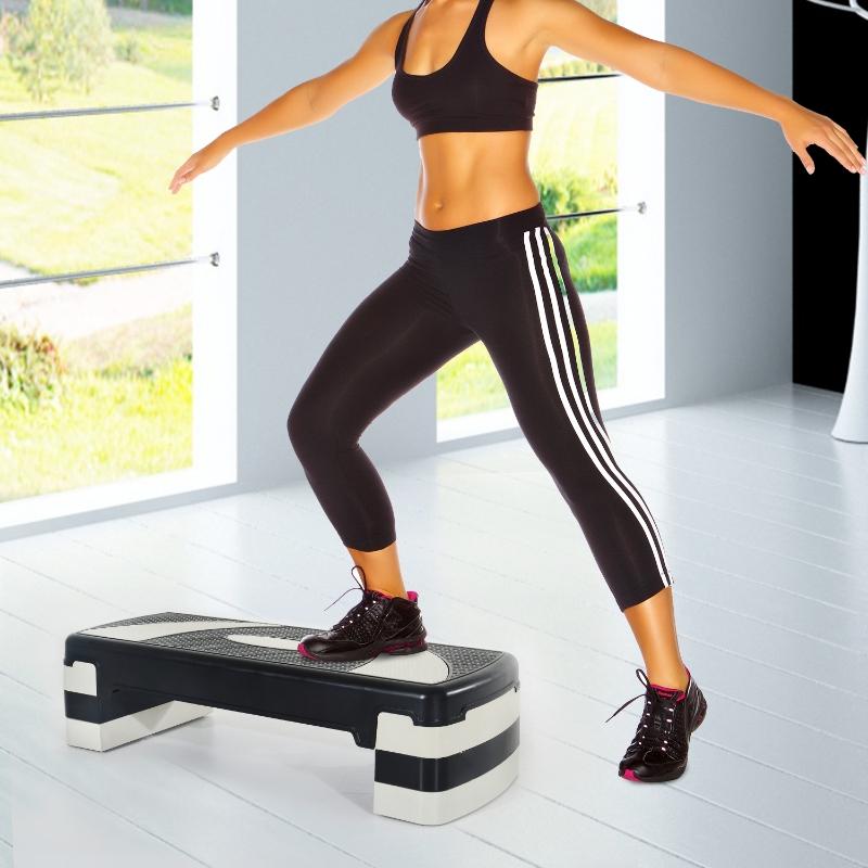 HOMCOM Tabla de Step Ajustable y Antideslizante para Fitness - Color Negro y Gris - Plástico - 80x31x10/15/20cm
