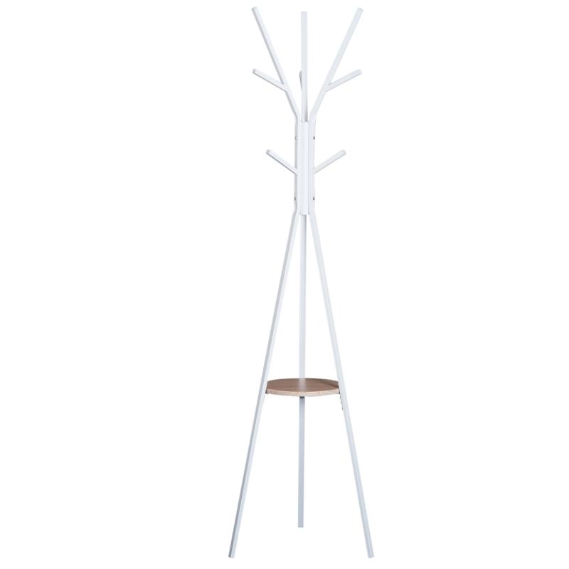 HomCom® Perchero de Pie Metálico para Colgar Ropa Bolsas 9 Ganchos con Estante Forma de Árbol Perchero Vintage 45x45x180cm Blanco