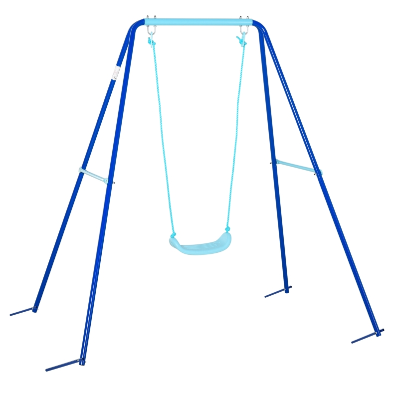 Outsunny Columpio Metal para Niños con Soporte +3 Años Juego de Columpio con Asiento y Cuerda Infantil para Jardín Patio Carga Máx. 30 kg 140x120x170 cm Azul