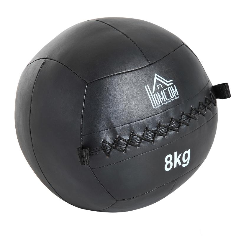 HomCom Balón Medicinal de Crossfit 8Kg con Asas tipo Pelota de Ejercicios de Cuero y PU Ф35cm