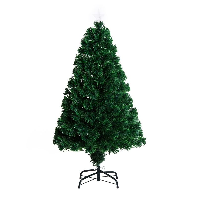 HOMCOM Árbol de Navidad 120cm Artificial Árboles de Abeto con Soporte Fibra Óptica Brillante LED Multicolor Ignífugo
