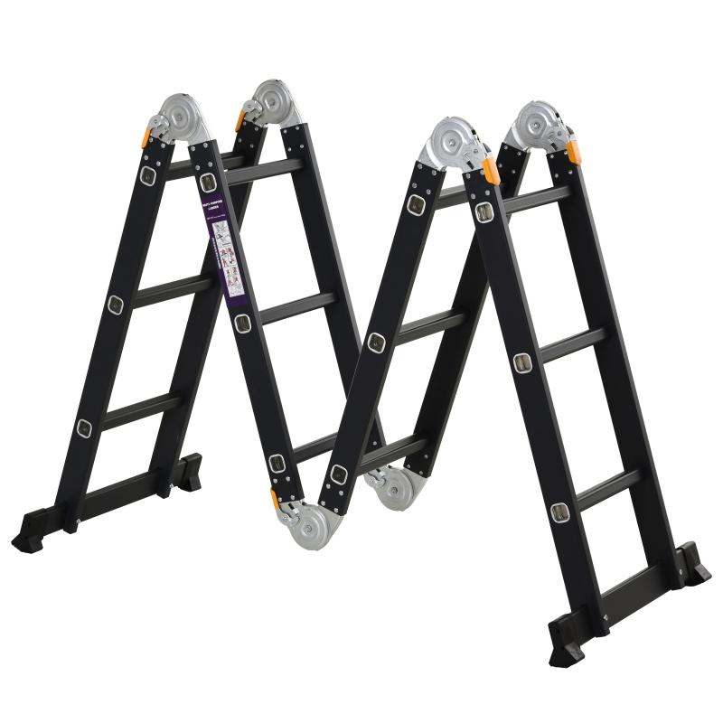 Escalera Multiusos Plegable Escalón Caballete 5 en 1 Portátil con 2 Placas de Plataforma Pie Antideslizante 6 Interruptores Bisagra 70x61x11cm