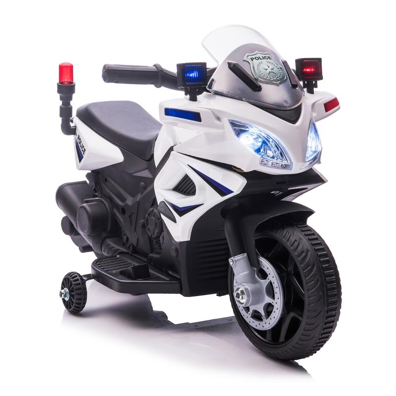 HOMCOM Moto Eléctrica Infantil de Policía Batería 6V Recargable para Niños de +18 Meses con Faros Bocina y Ruedas de Equilibrio Velocidad Máx. de 3 km/h 69x39x43 cm Multicolor