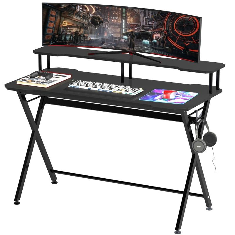 HOMCOM Mesa Gaming para Juegos Mesa Escritorio para Ordenador PC con Soporte para Monitor y Auriculares 140x60x90 cm Negro
