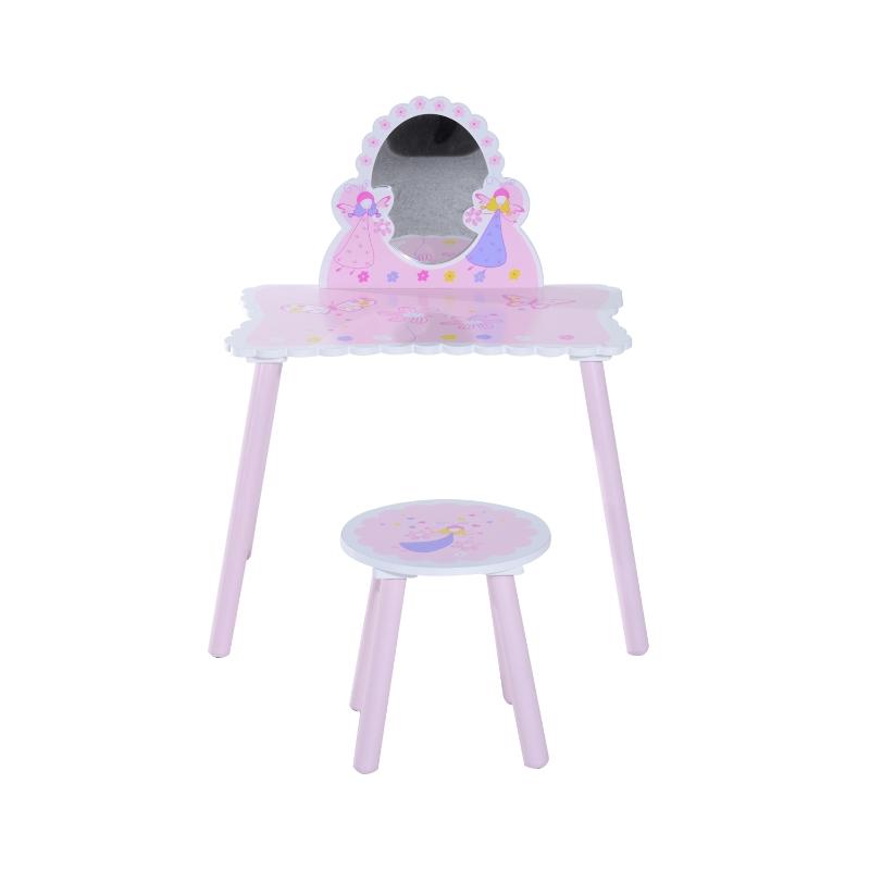 HomCom® Tocador Maquillaje para Niños con Espejo y Taburete Madera Rosa