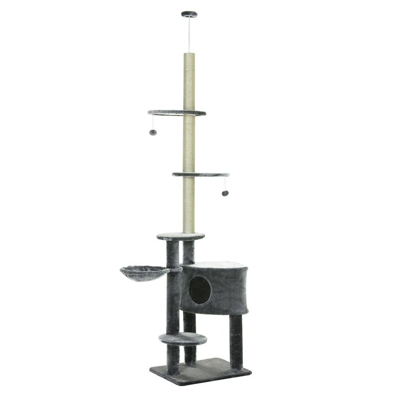 PawHut Árbol Rascador para Gatos de 220-245 cm Altura Ajustable al Techo con Plataformas Bolas de Juego Poste de Sisal Natural Gris Oscuro