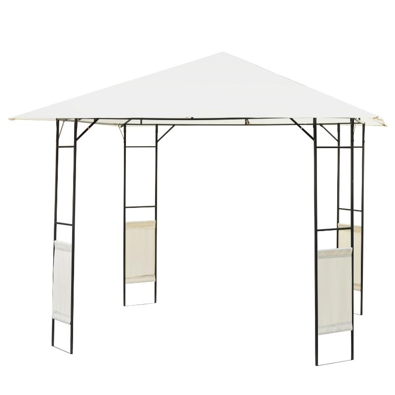 Carpa Cenador para Jardín o Terraza - Color Crema - Acero y Poliéster - 3x3x2,6 m