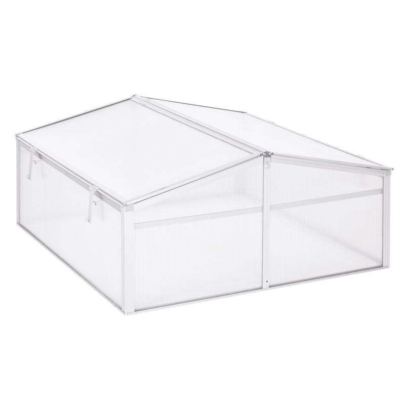 Outsunny Invernadero de Jardín Aluminio Policarbonato 100x100x48cm Transparente Vivero Casero para Plantas Cultivos Protección UV y Resistente