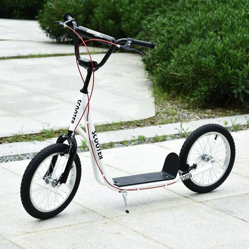 HOMCOM Scooter Patinete para Niños Mayores de 5 Años con Manillar Ajustable en Altura 2 Neumáticos de Caucho Inflable 139x58x90-96cm