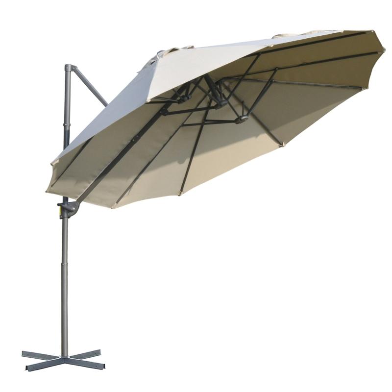 Outsunny Sombrilla Doble Parasol Grande Inclinable para Jardín Patio Terraza Playa con Manivela Abrir y Cerrar Fácilmente 270x440x250cm