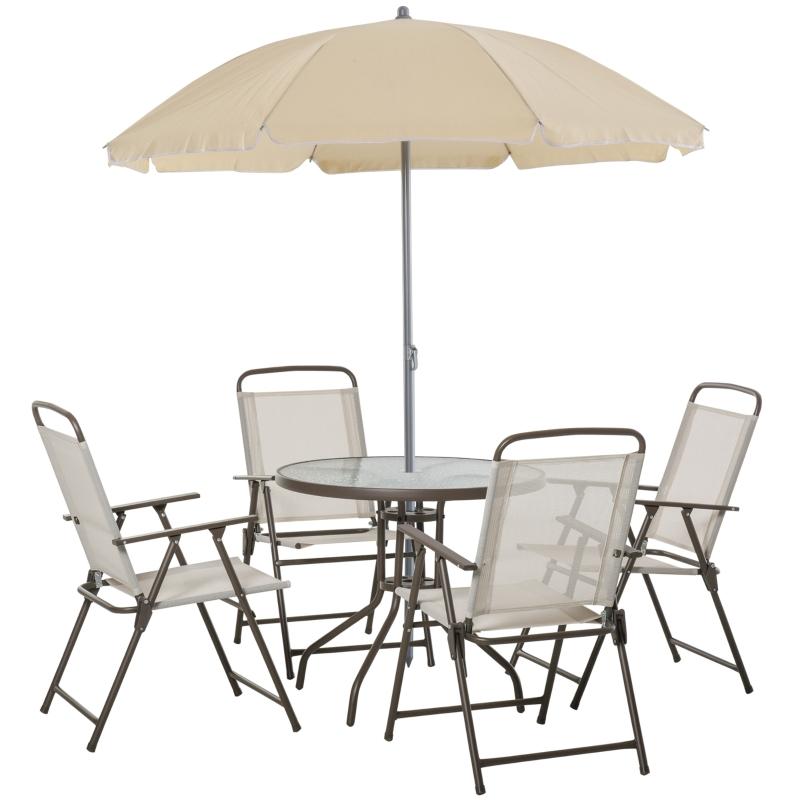 Outsunny Conjunto de Muebles para Jardín con 4 Sillas 1 Mesa y 1 Parasol Textilene Aluminio y Poliéster Beige