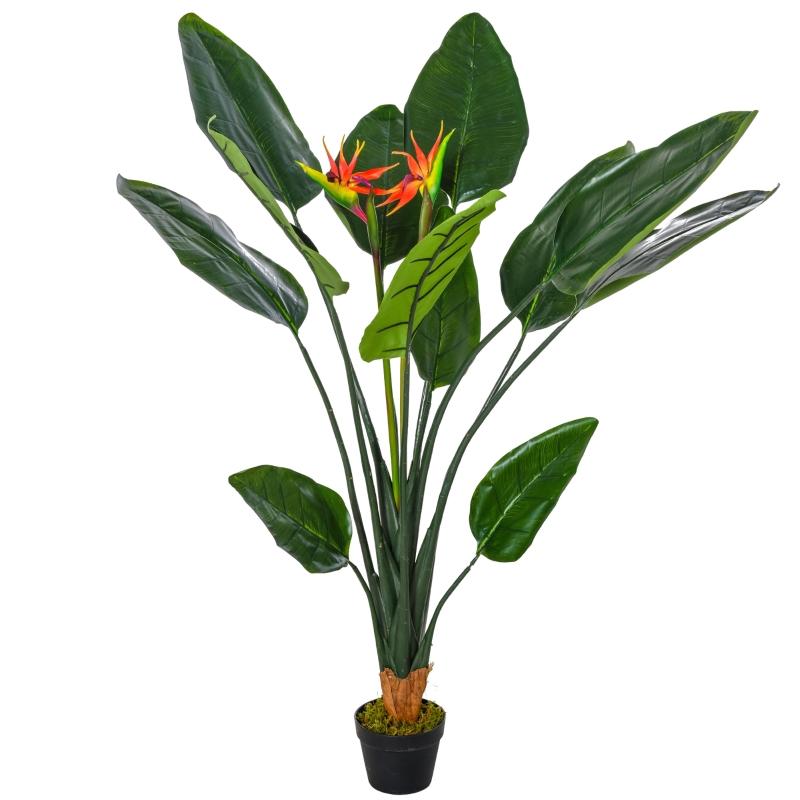 Outsunny Planta Artificial Ave del Paraíso con Maceta Strelitzia Reginae Sintética con 13 Hojas y 2 Flores para Hogar Oficina Ø18x155 cm Verde y Rojo