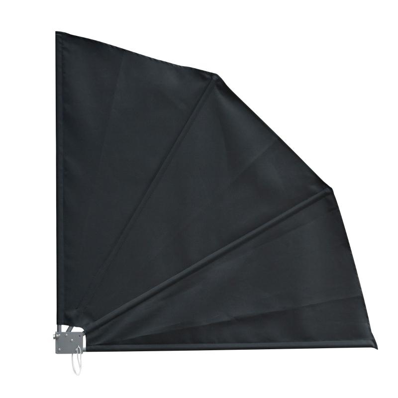 Outsunny Outsuuny Toldo Lateral Plegable de Balcón 120x120 cm en Forma de Abanico Aluminio con Soporte de Pared para Suelo Terraza Patio Gris Oscuro