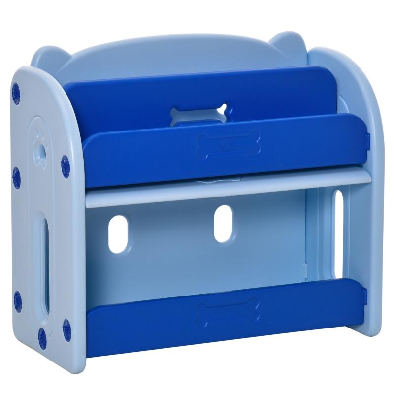 HOMCOM Estantería Infantil de Juguetes y Libros Librería para Niños con 2 Estantes y Compartimento con Tapa Abatible para Habitación de Niños 70x33x62,5 cm Azul