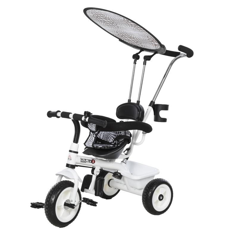 HOMCOM Triciclo para Niños con Capota extraíble y plegable Incluye barra telescópica para los padres Certificado EN71-1-2-3 Color Blanco 103x47x101cm