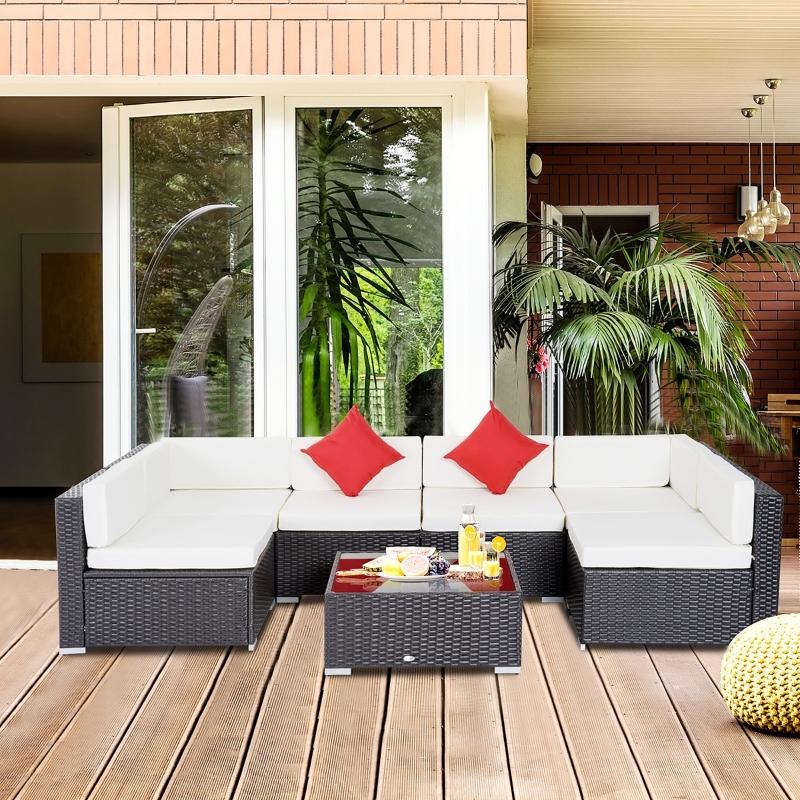 Outsunny Conjunto de Muebles para Jardín de Ratán 7 Piezas Set de Sofás y Mesita de Centro Color Marrón con Almohadas Blanco Crema y Cojines Decorativos Rojos para Patio Terraza