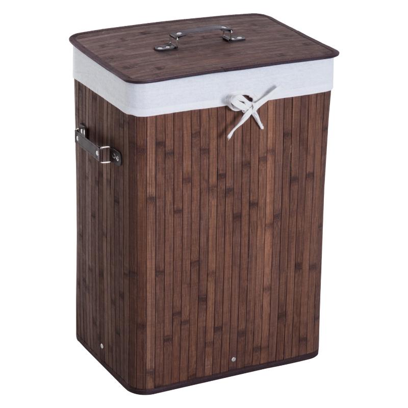 HomCom® Cesto para Ropa Sucia Plegable con Tapa Cesta de Lavandería Rectangular Bambú 70L Marrón