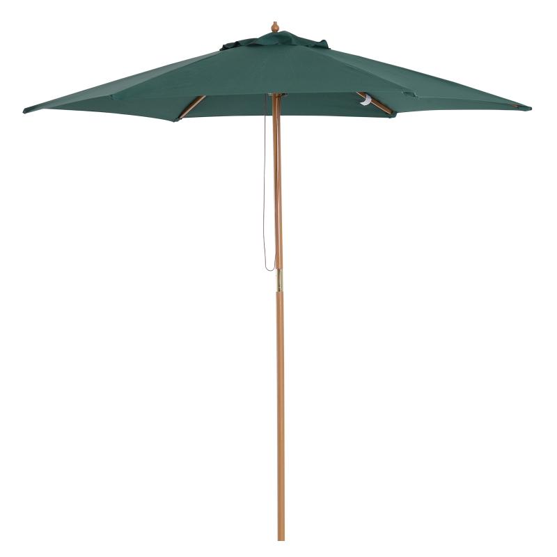Sombrilla tipo Parasol para Terraza Patio y Jardín - Mástil de Madera - Color Verde - Φ2,5m