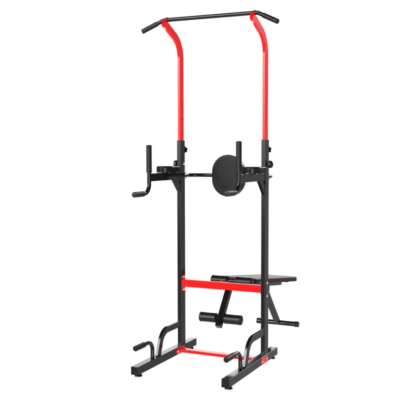 HOMCOM Multiestación  Musculación Multifuncional Plegable con Banco Acolchado Altura Ajustable en 6 Niveles Acero 94x174x180-230 cm Negro y Rojo