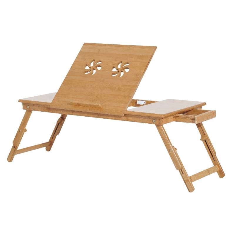 HomCom® Mesa de Ordenador Portátil Bambú Plegable Altura Ajustable 1 Cajón