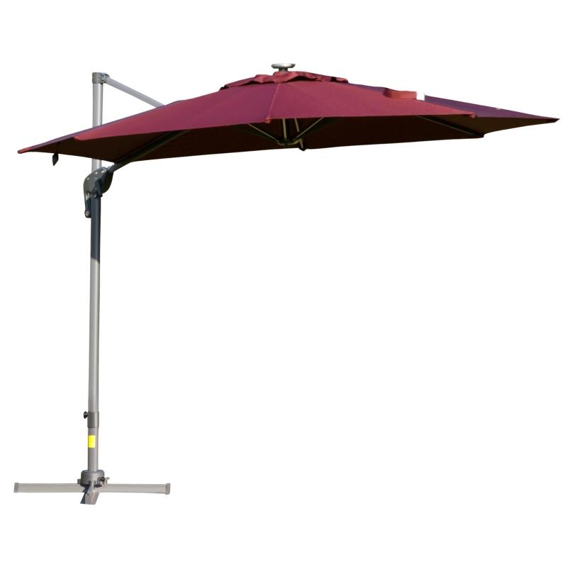 Outsunny Sombrilla de 300 cm de Aluminio Luces LED Protección UV 50+ Giratorio 360° con Manivela Panel Solar Techo Reclinable Base Cruzada Rojo
